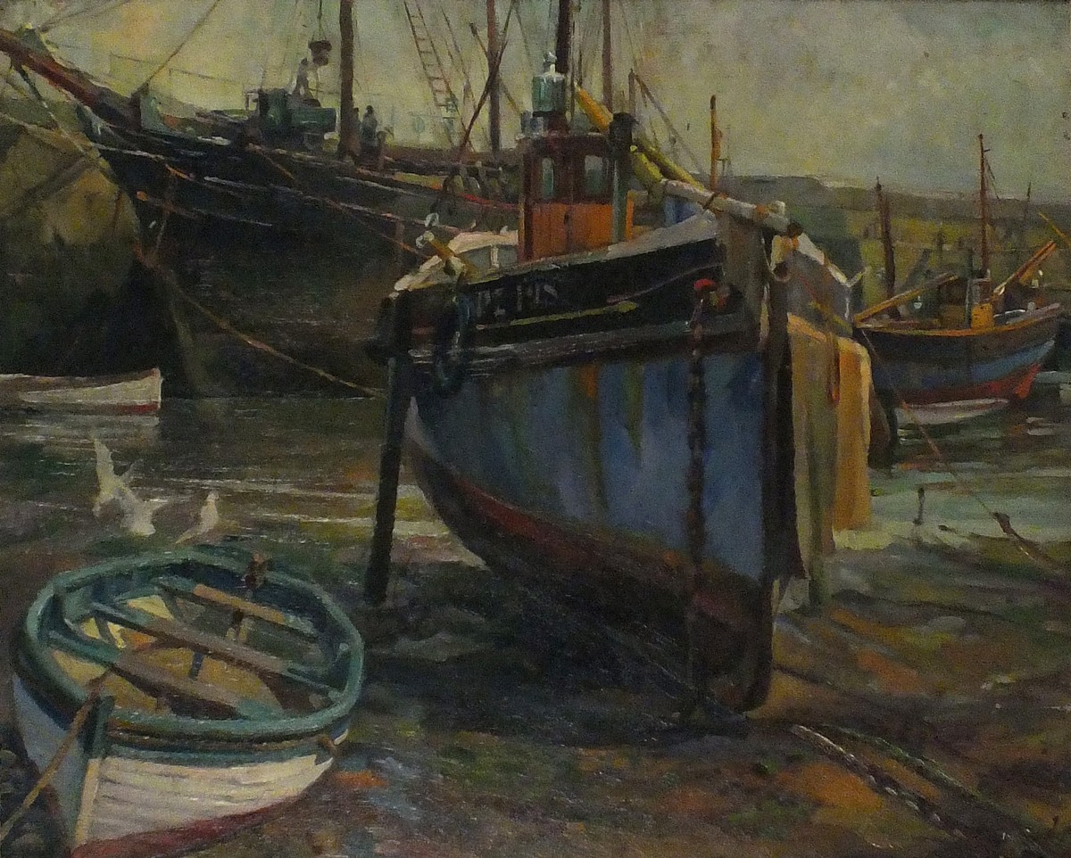 Harold HARVEY (British 1874-1941) Low Tide with the vessel 'We'll Try' - Newlyn Harbour, Oil on