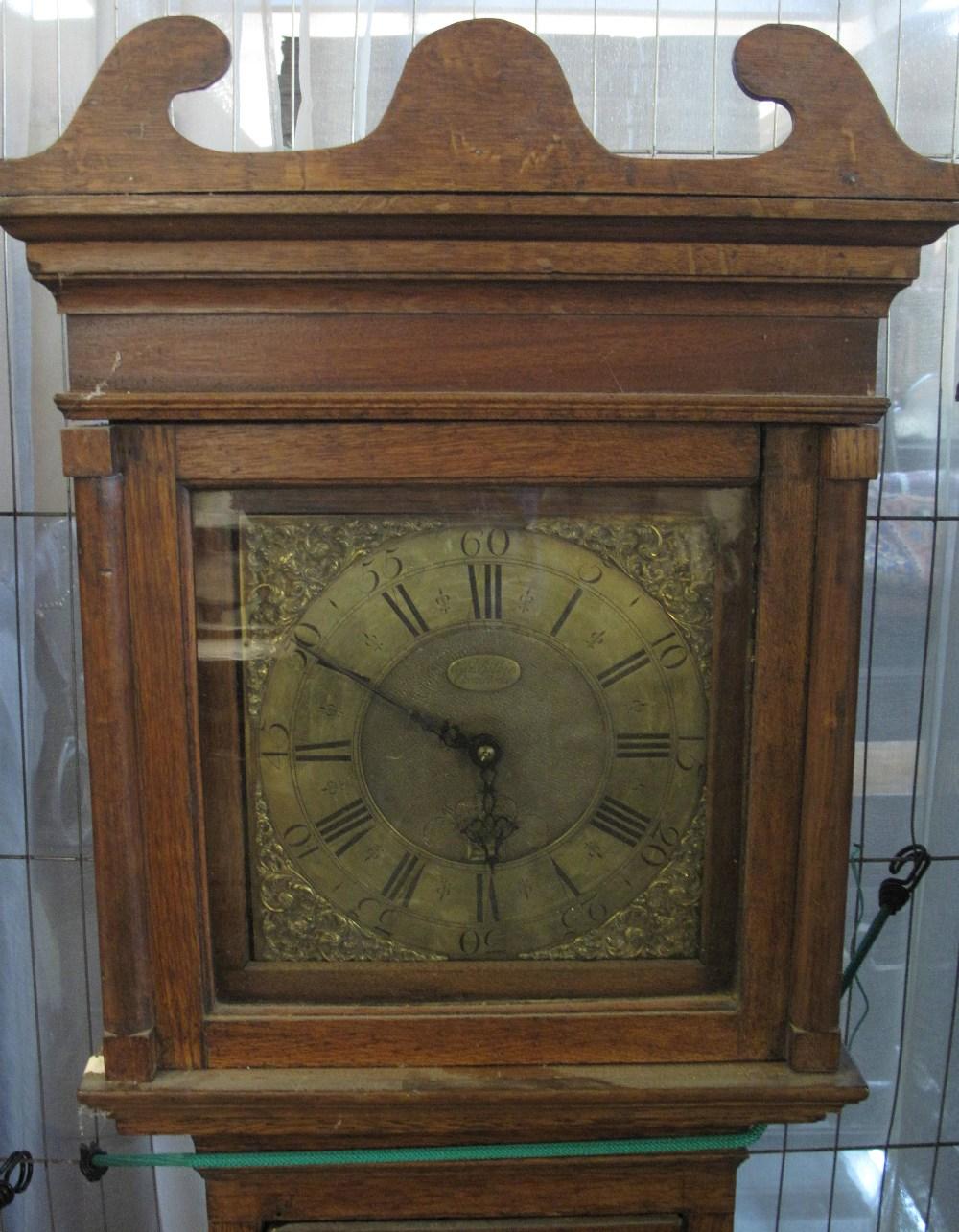 18TH CENTURY OAK 30 HOUR LONGCASE CLOCK by Edward Bilbie of Chew Stoke,