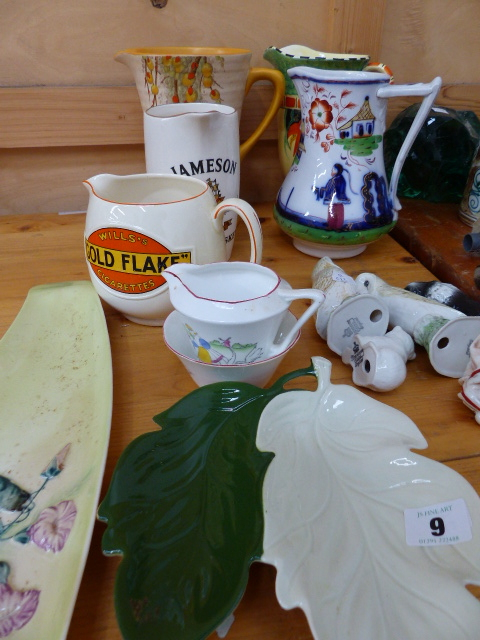 Lot 9 - TWO PUB JUGS, TWO ART DECO JUGS AND OTHER CHINAWARE.