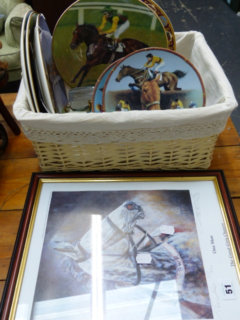 Lot 51 - A SIGNED LIMITED EDITION PRINT RACE HORSE AND RELATED COLLECTOR'S PLATES, JAPANESE COFFEE SET,ETC.