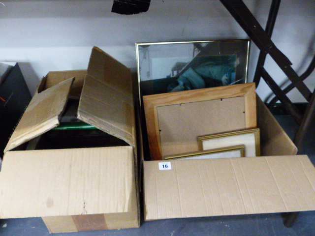Lot 16 - A BOX OF PICTURES AND A BOX OF BOOKS
