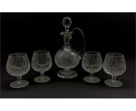 Waterford crystal claret decanter with certificate and four Waterford Crystal Lismore pattern brandy glasses (5) - Condition