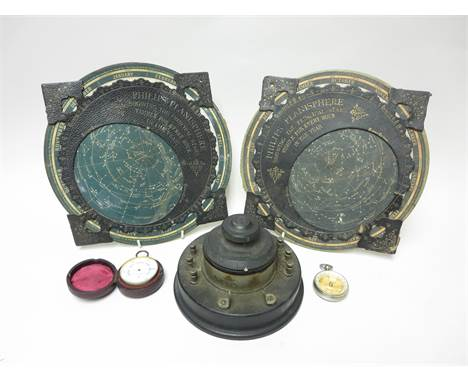 Two Philips' Planisphere Charts, an aneroid Pocket Barometer by Negretti & Zambra, in case, a Pocket Compass, and a Cosmos Cr