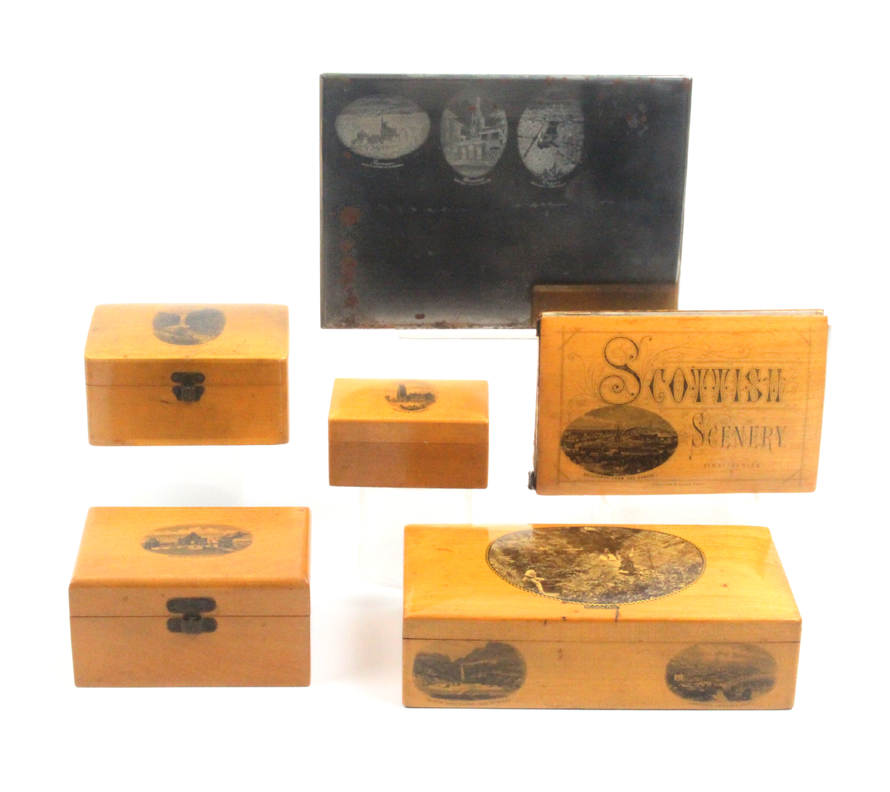 Lot 19 - Mauchline ware - six pieces comprising a rectangular card box with two card markers and a set of