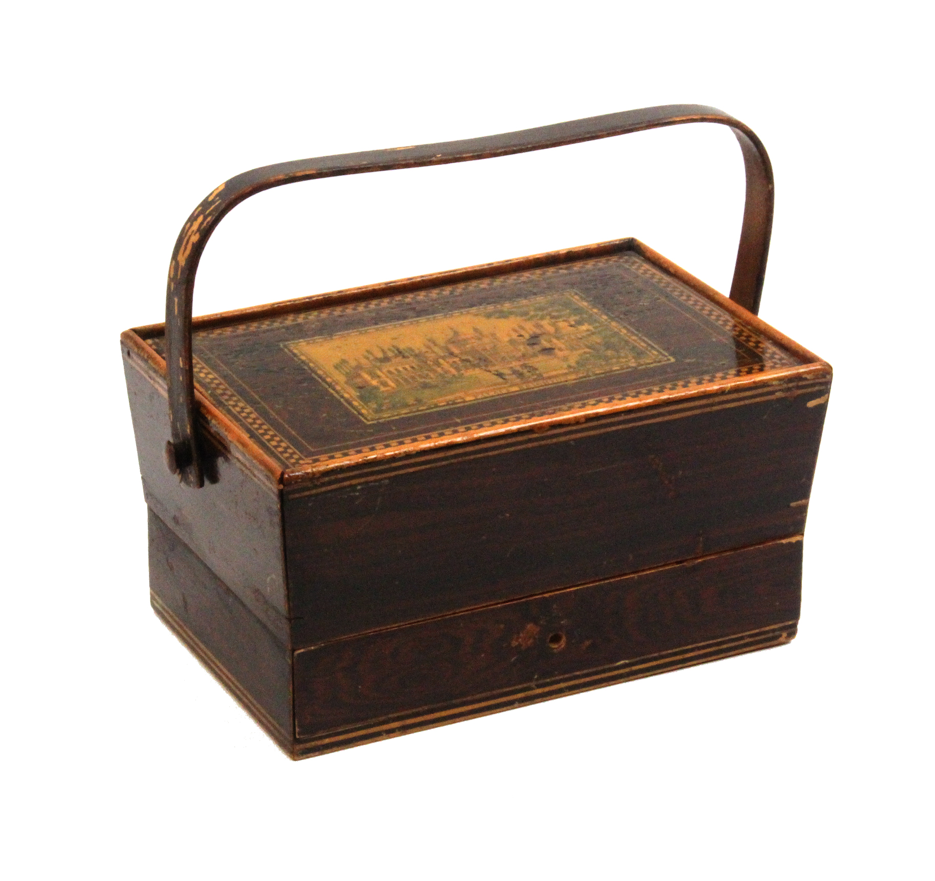Lot 10 - An early Tunbridge ware print and paint decorated sewing pannier in simulated rosewood, the pin