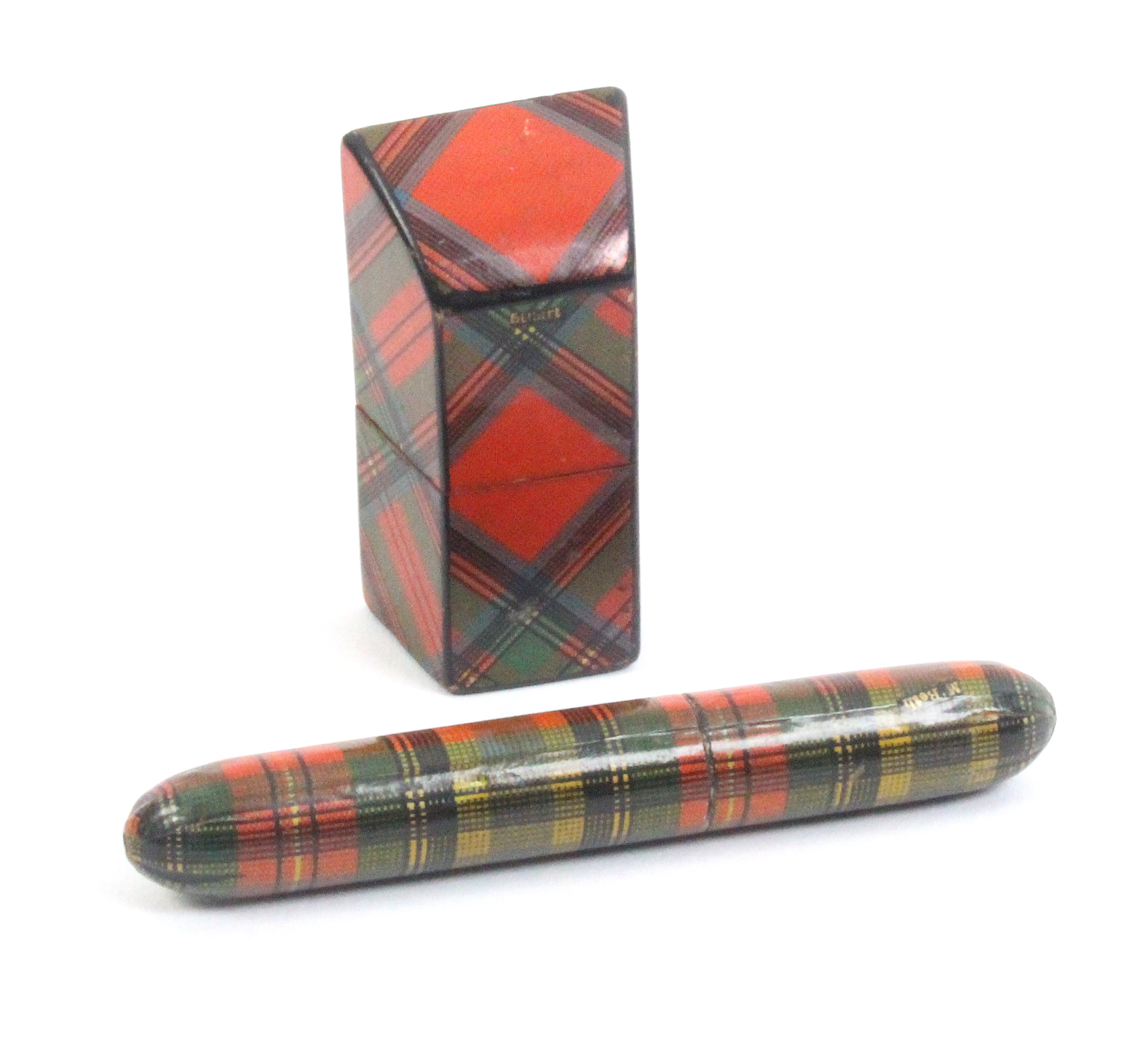 Lot 38 - Tartan ware - sewing - two pieces comprising a slightly curved slant top needle packet box (Stuart),