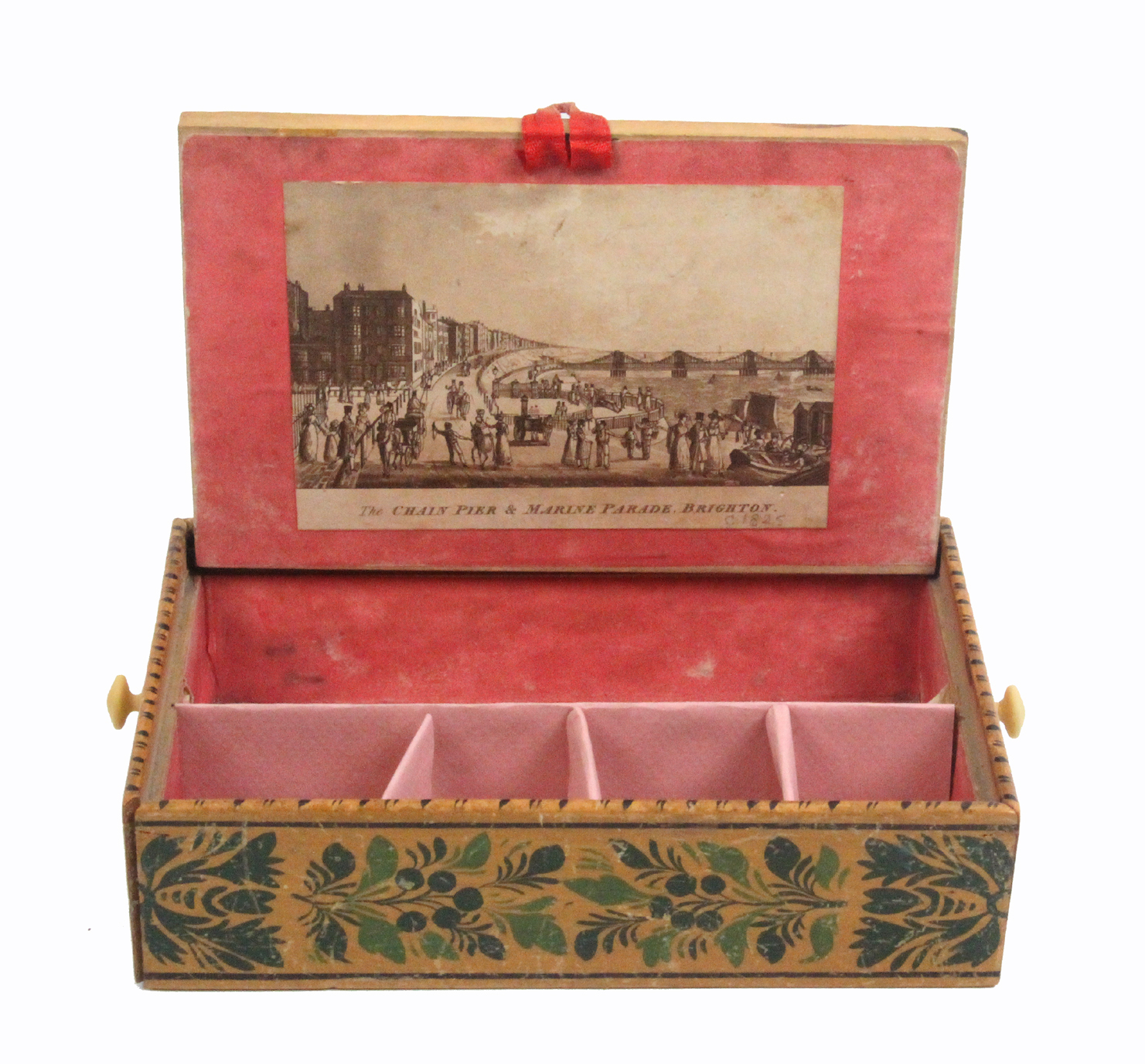 Lot 4 - An early painted Tunbridge ware whitewood box of rectangular form with sloping sides decorated