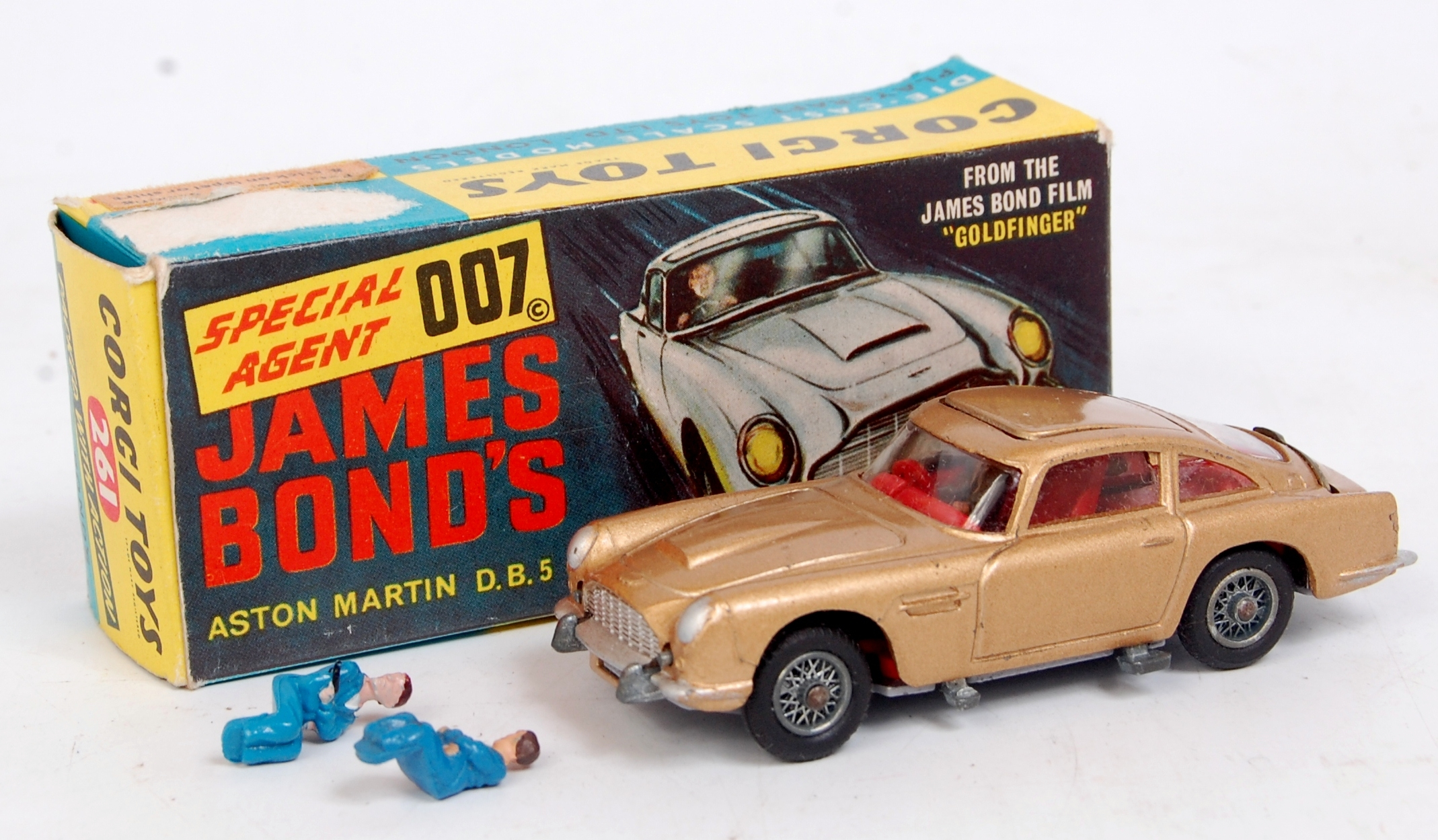 corgi toys, 261, james bond aston martin db5, gold body, with red