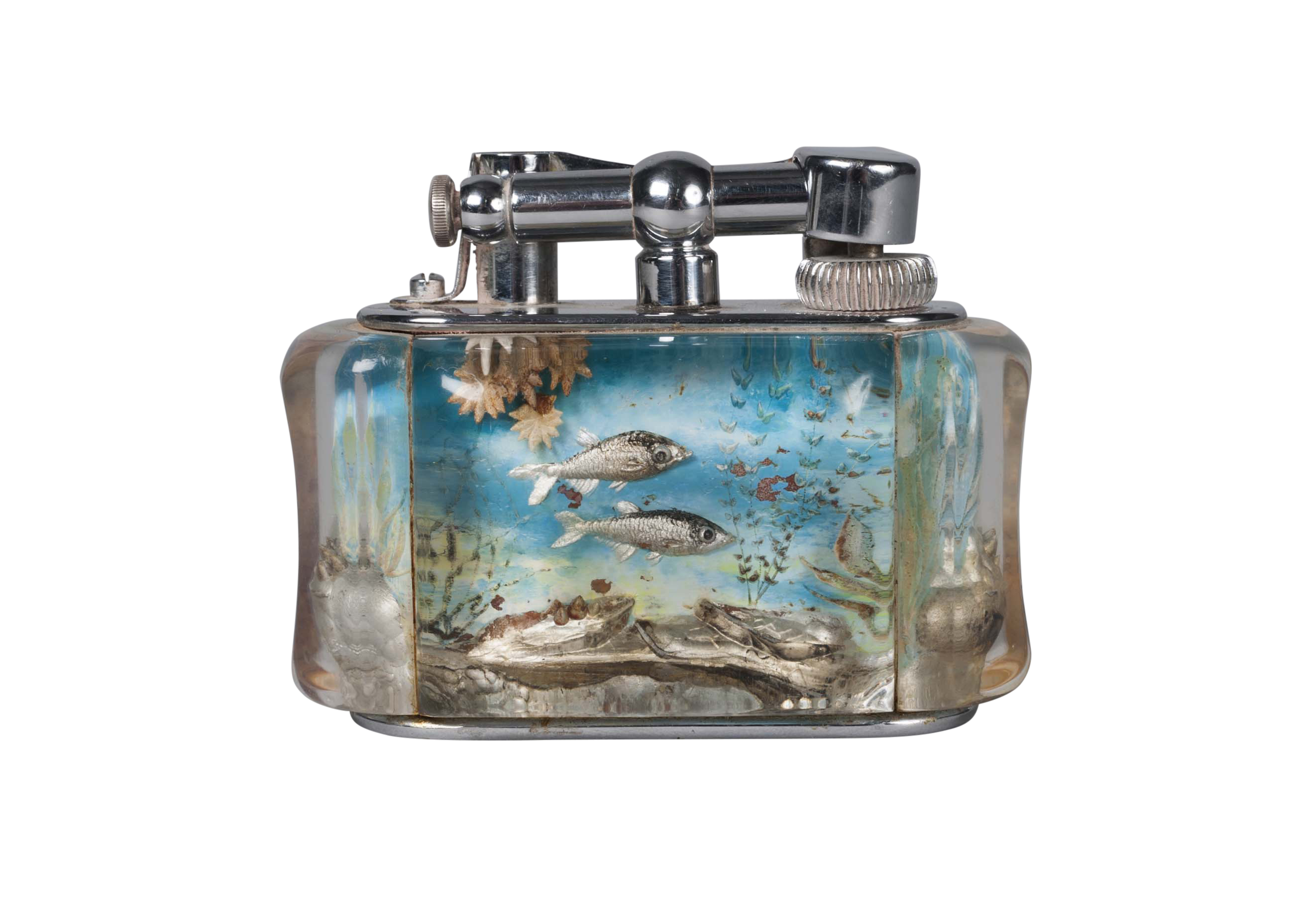Lot 141 - Dunhill, an Aquarium table lighter 2nd Quarter 20th Century, reg. no. 737418, stamped maker's mark