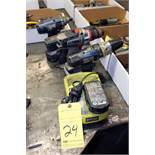 LOT OF CORDLESS DRILLS, w/ battery & charger
