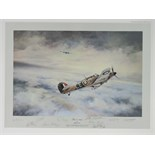 Lot 41 - Print; 'First of Many' by Robert Taylor signed by Dudley Bader and nine others, 39 x 53cm, unframed.