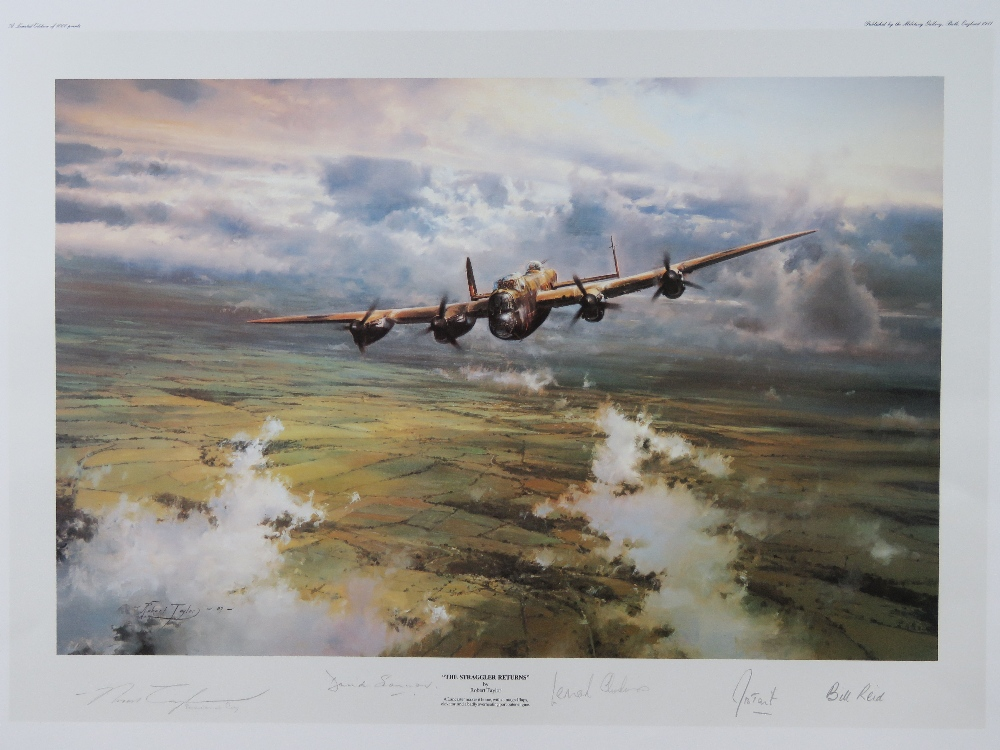 Lot 1 - Presentation Print; 'The Straggler Returns' by Robert Taylor, signed by the artist and four others,
