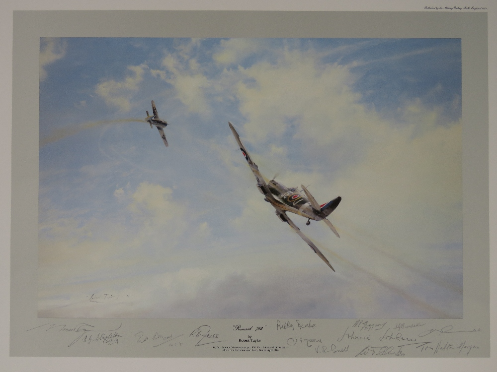 Lot 57 - Print; 'Ramrod 792' by Robert Taylor, signed by the artist and Johnny Johnston and eleven others,
