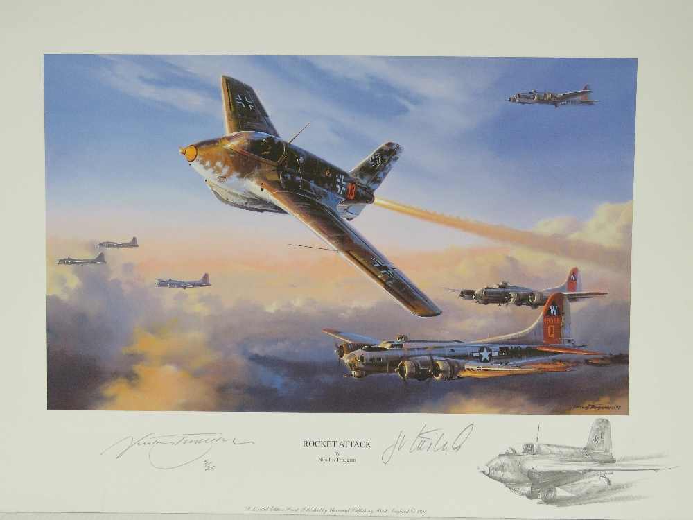 Lot 53 - Limited Edition print; 'Rocket Attack' by Nicolas Trudgen, signed by the artist and one other,
