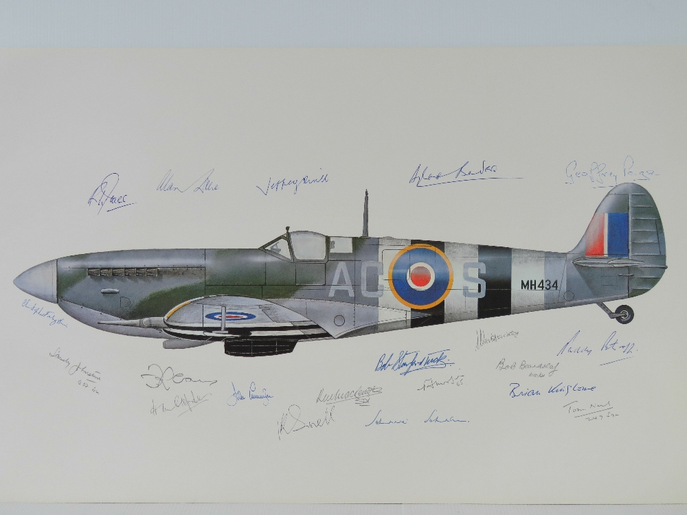 Lot 55 - Colour print; profile of a Spitfire, signed Douglas Bader, Geoffrey Paige and nineteen others,