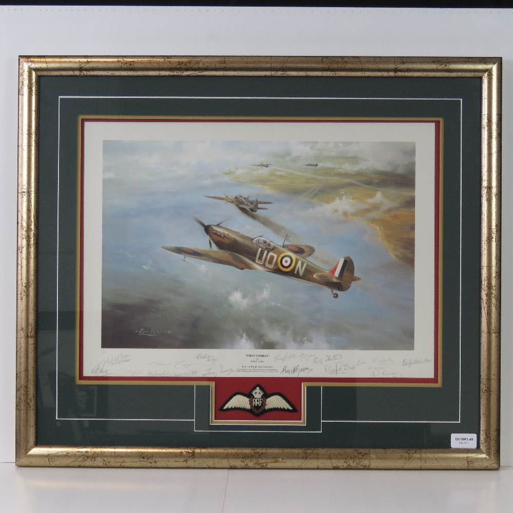 Lot 26 - Limited Edition print; 'First Combat' by Robert Taylor, Battle of Britain Aces Edition No 3 of 990,