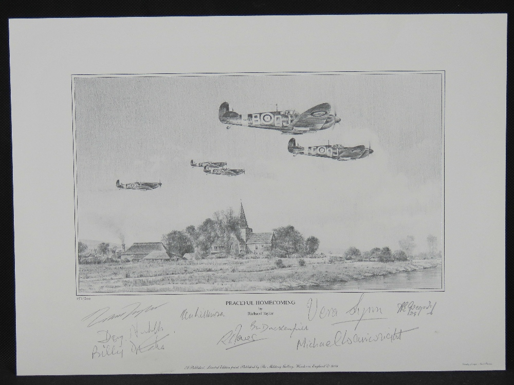Lot 47 - Print; 'Peaceful Homecoming' by Richard Taylor, signed by Vera Lynn and eight others, 30 x 42cm,