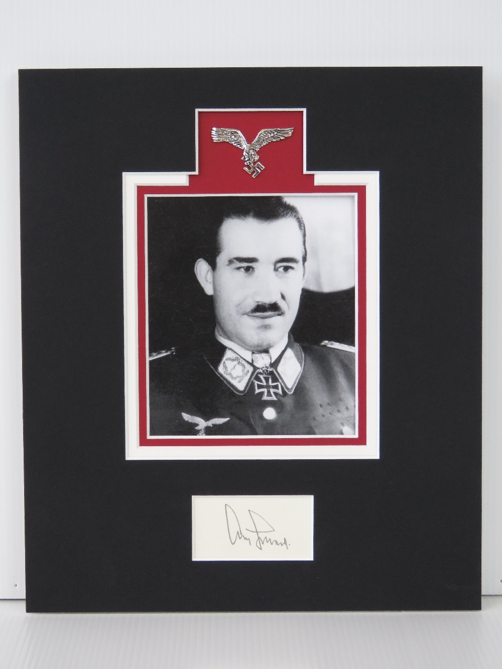 Lot 6 - A mounted facsimile photograph signed under Adolf Galland,