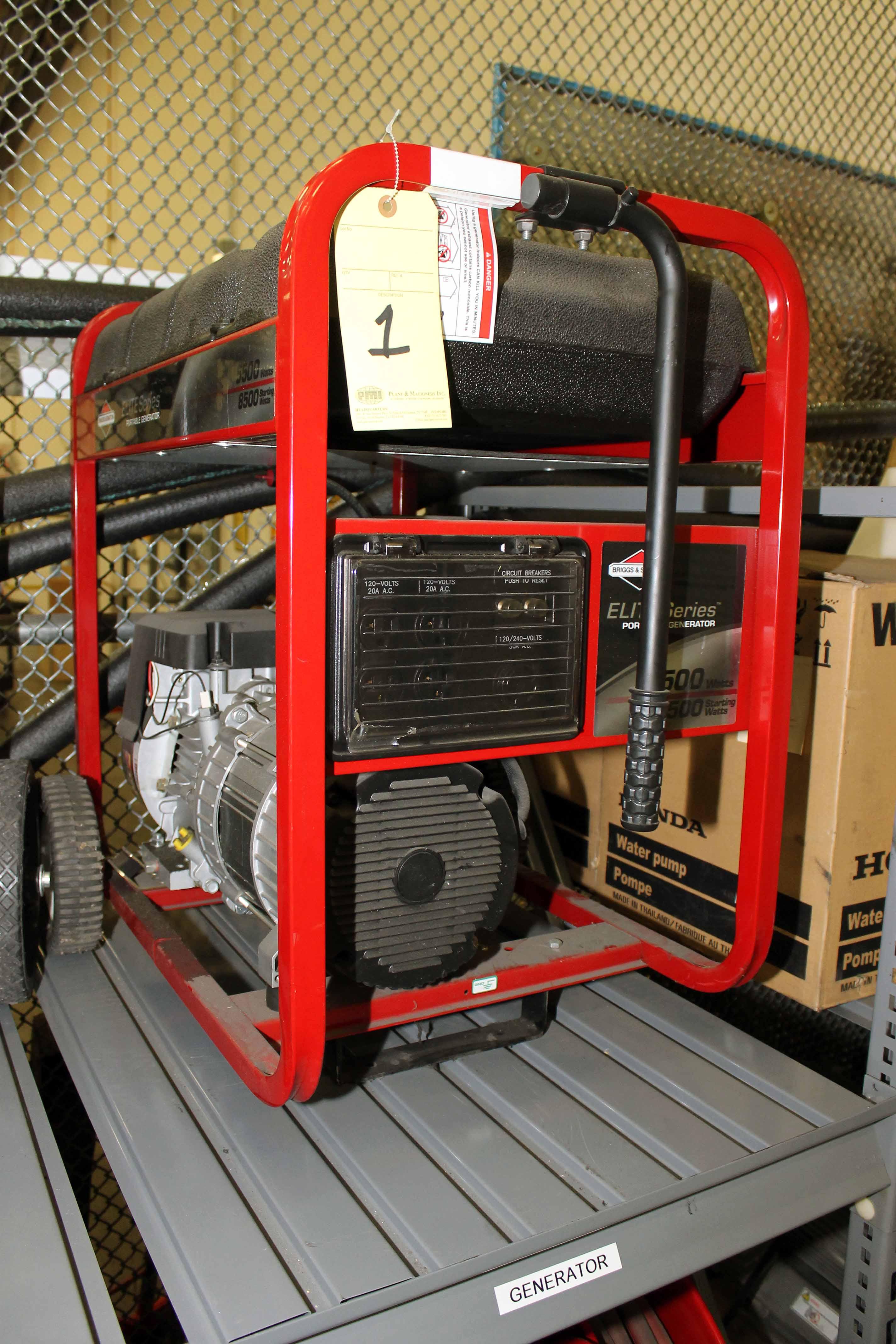 Lot 1 - PORTABLE GENERATOR, ELITE SERIES, 5,500 watt, gasoline pwrd. (Location 1 - Techway)
