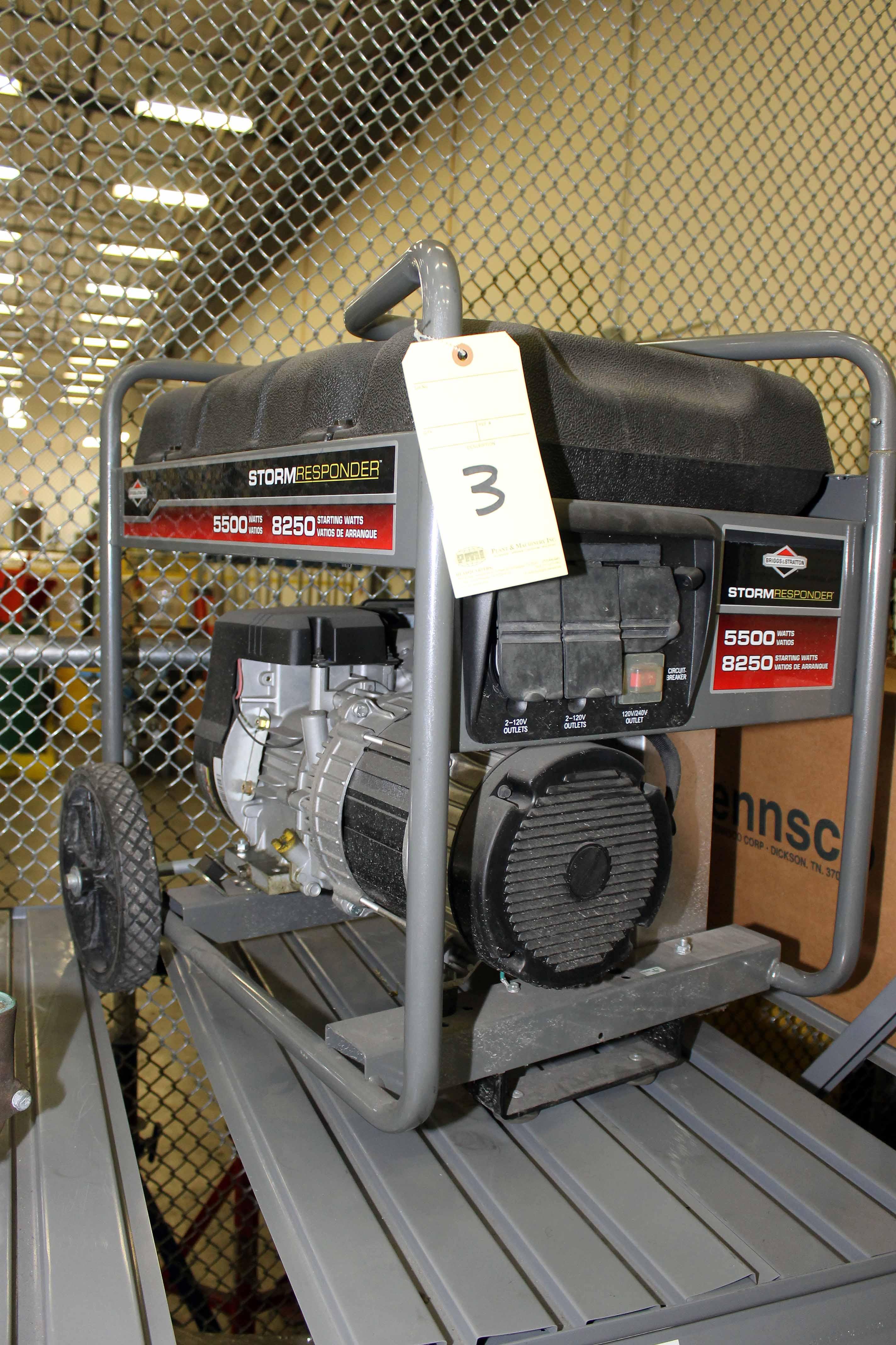 Lot 3 - PORTABLE GENERATOR, STORM RESPONDER, 5,500 watt, gasoline pwrd. (Location 1 - Techway)