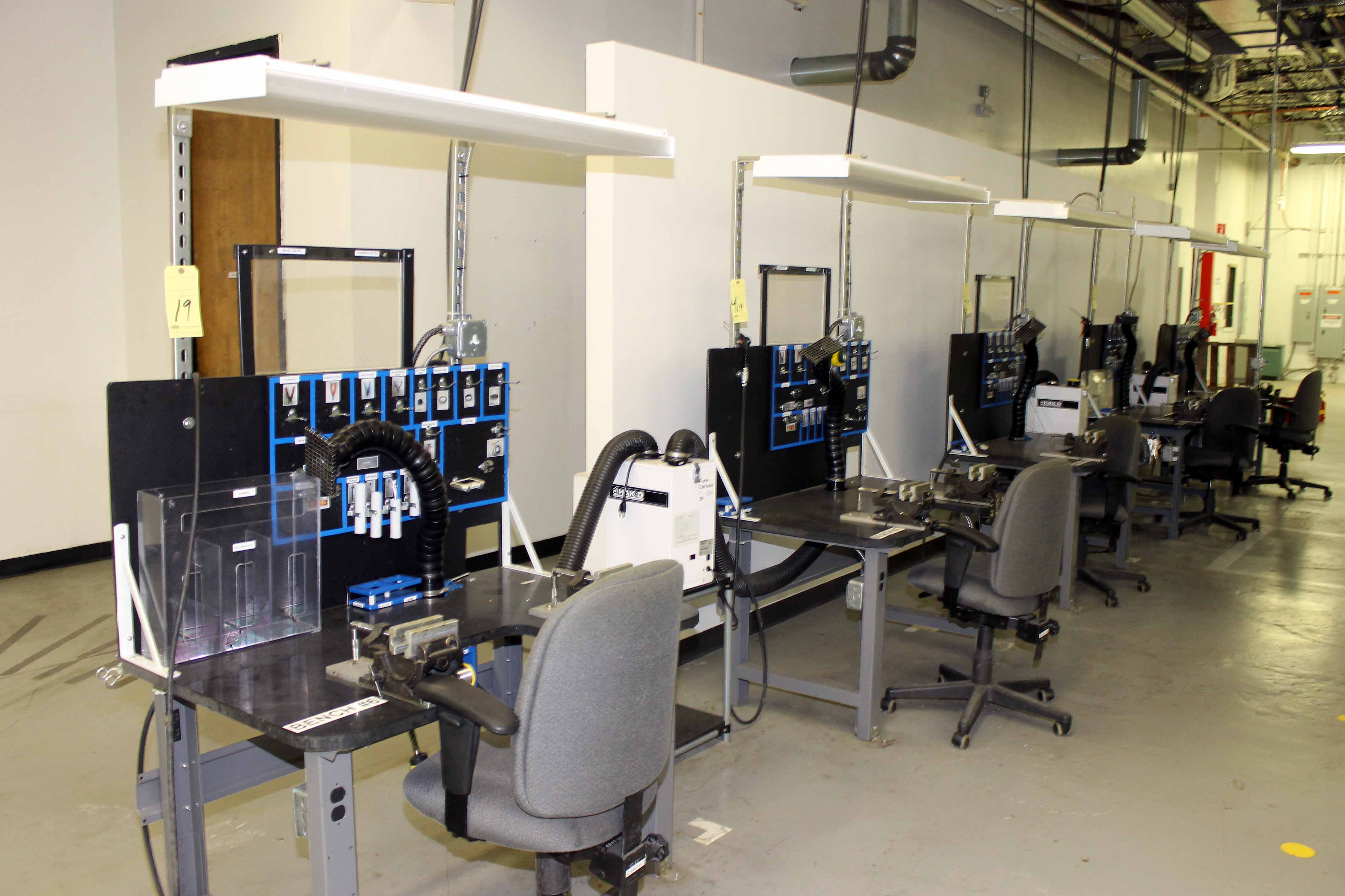 Lot 19 - WORKBENCH ASSEMBLY LINE, (5) Workbenches w/(3) Hako fume extractors & misc. assembly equipment (