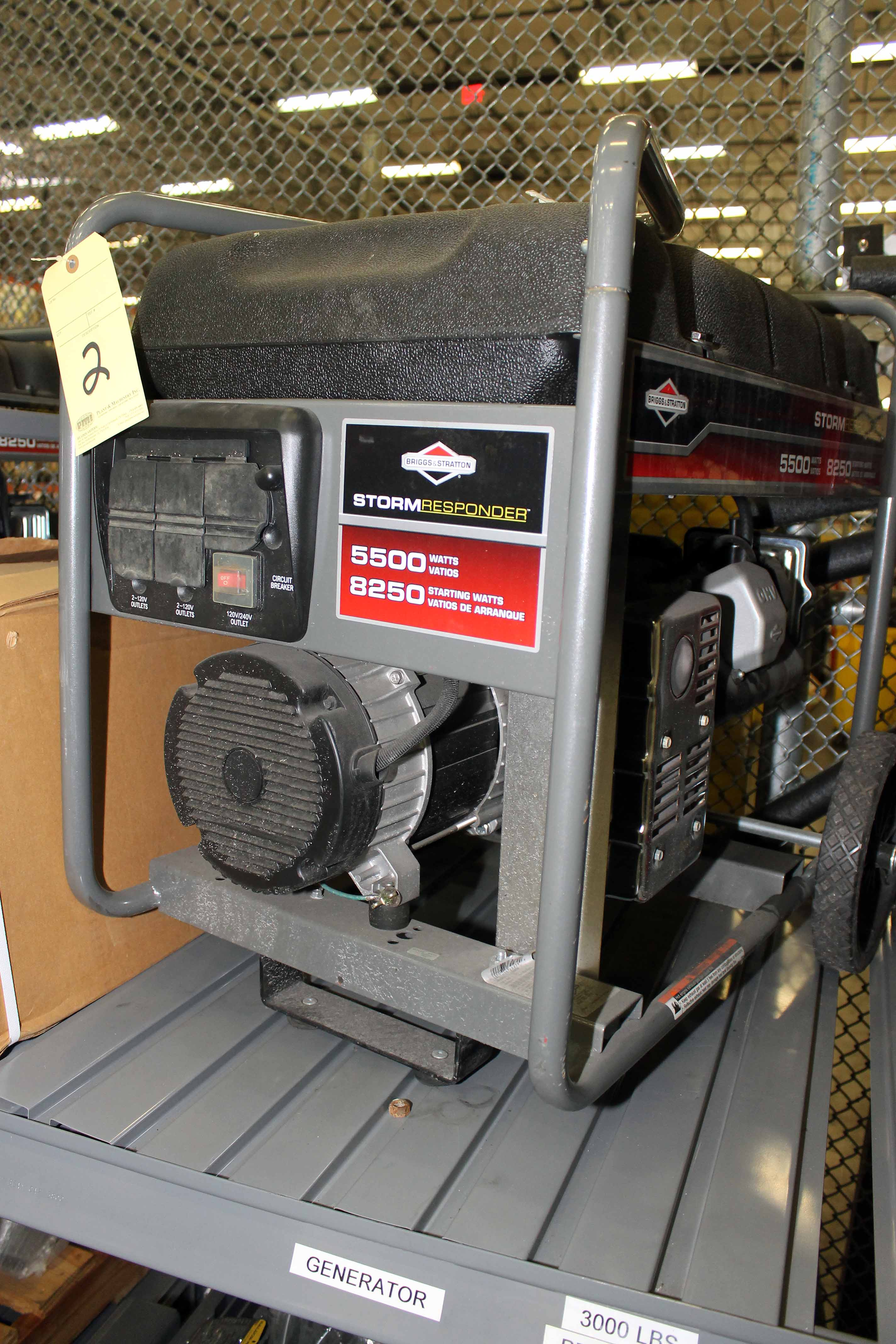 Lot 2 - PORTABLE GENERATOR, STORM RESPONDER, 5,500 watt, gasoline pwrd. (Location 1 - Techway)
