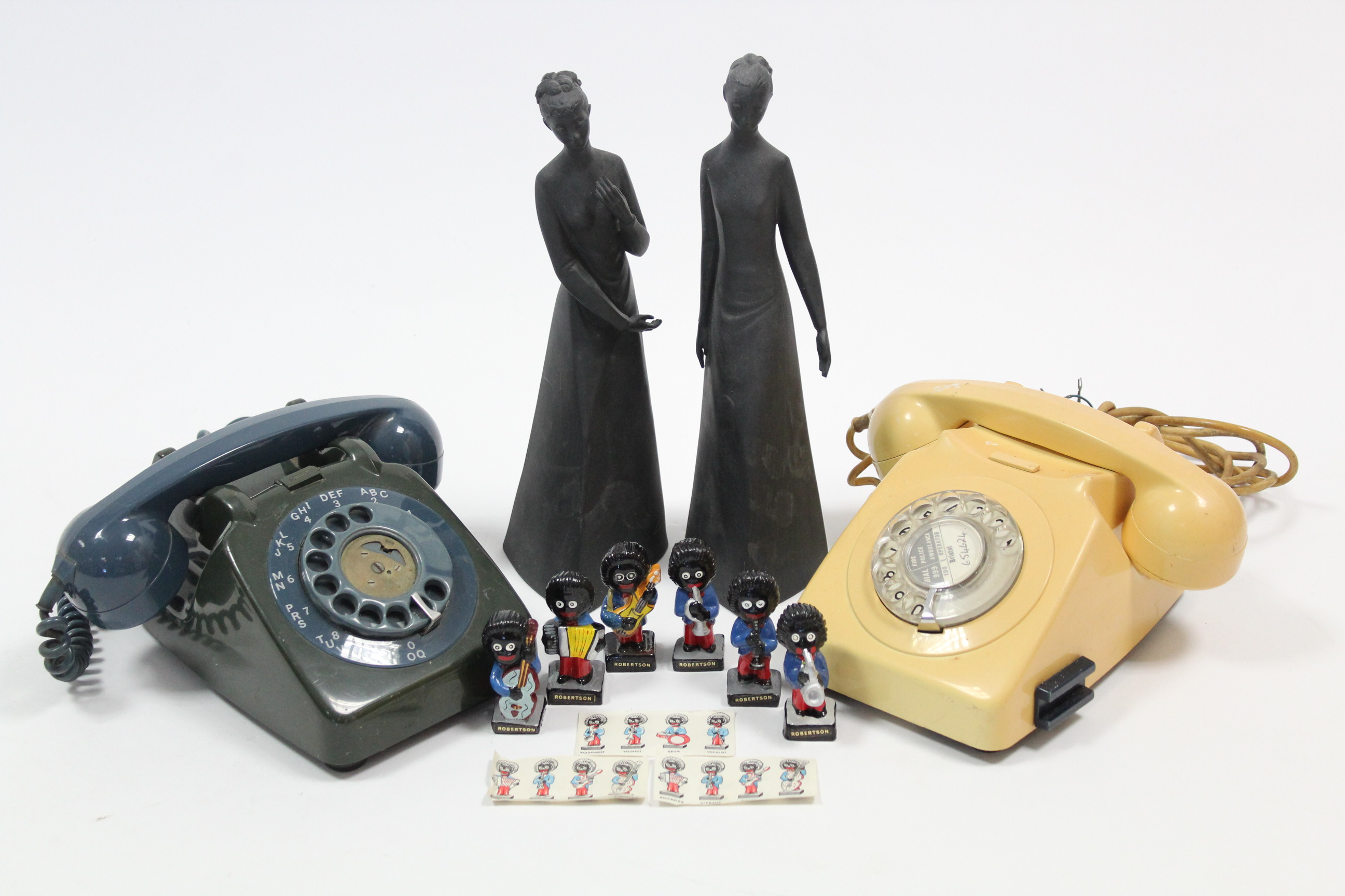 """Lot 35 - Two vintage telephones; together with two Royal Doulton figures """"Tranquility"""" & """"Sympathy""""; & six"""