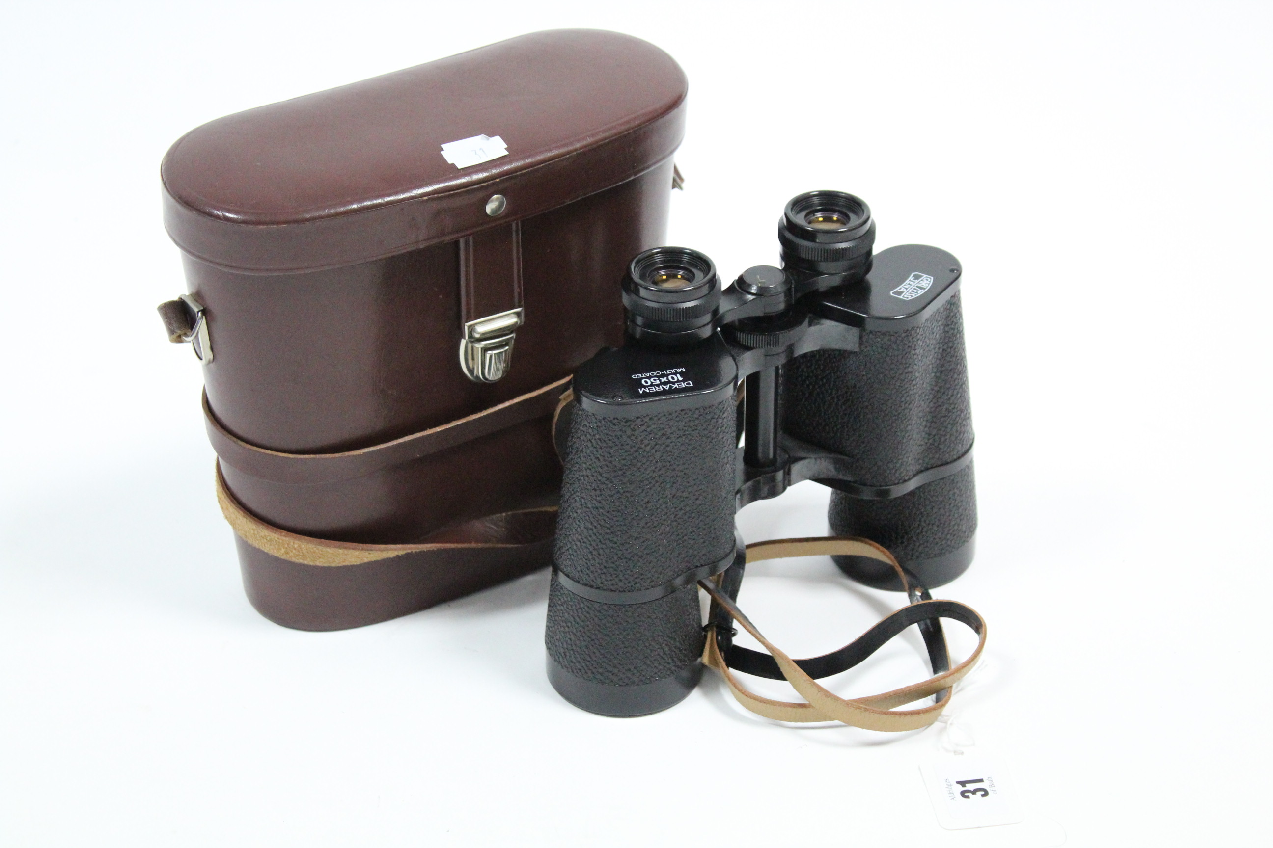 Lot 31 - A pair of Carl Zeiss Jena Dekarem 10 x 50mm binoculars with leather case.