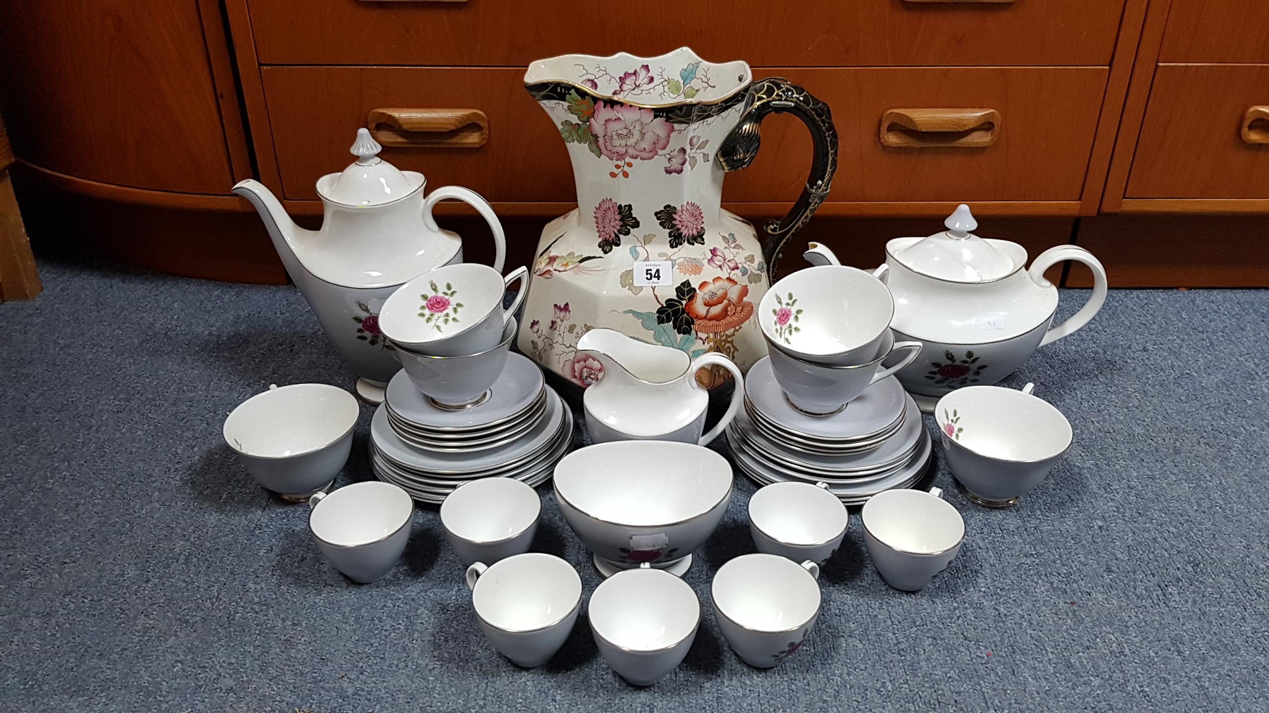 "Lot 54 - A Mason's ironstone china floral decorated toilet jug, 11½"" high; a Mason's set of three graduated"