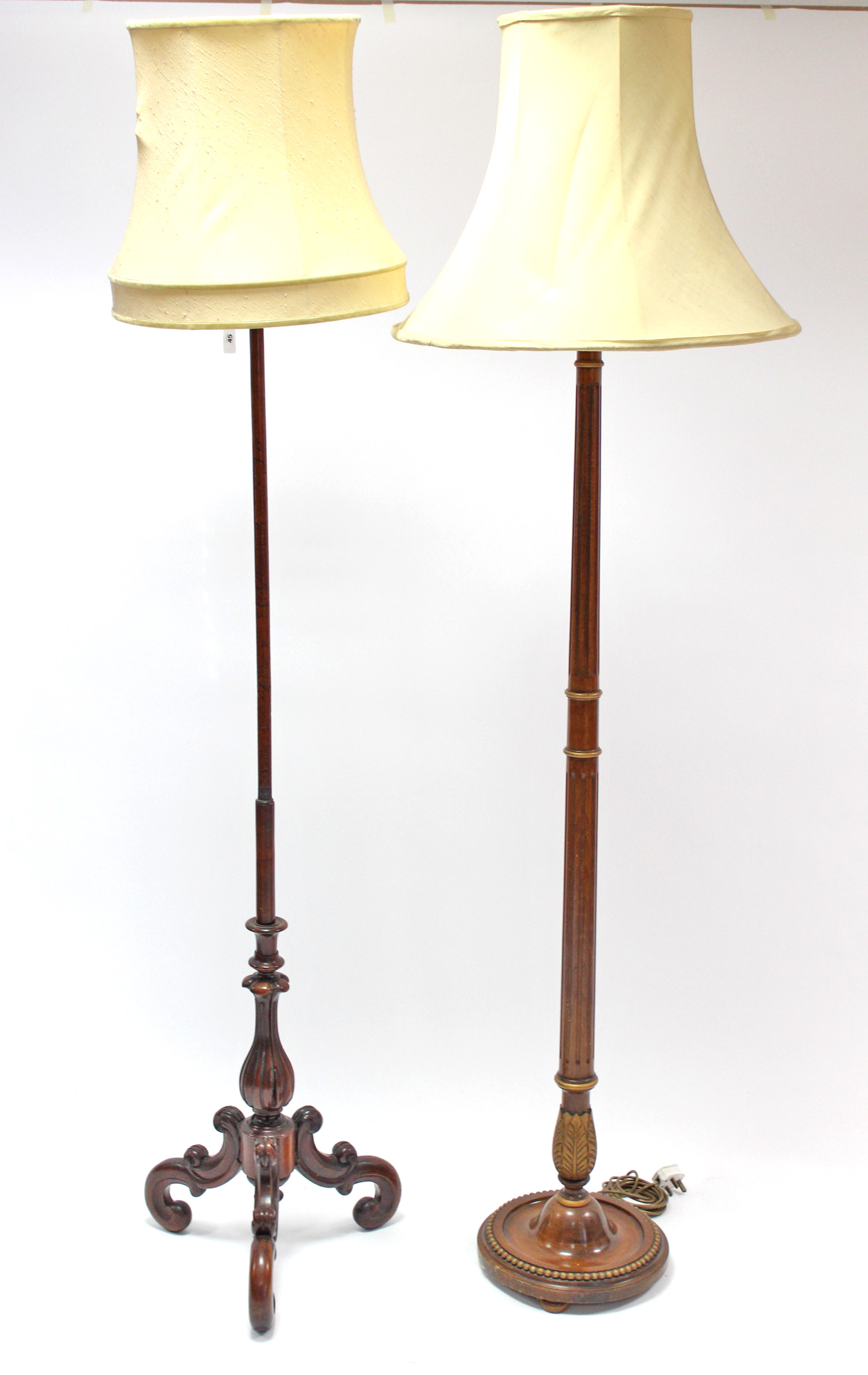 Lot 45 - A 19th century mahogany pole-banner screen (converted to a standard lamp); together with another