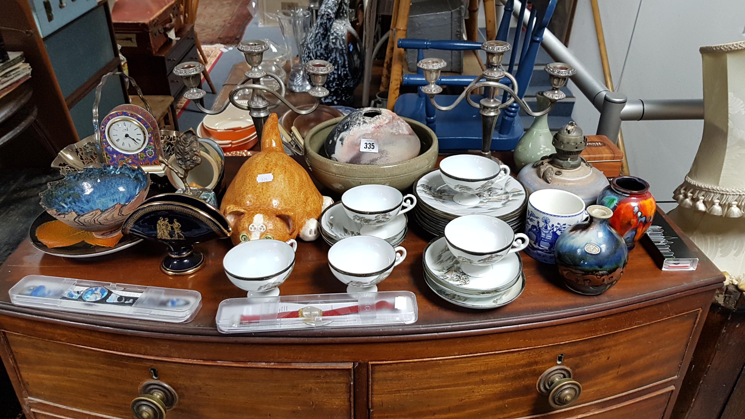 Lot 335 - A Japanese eggshell porcelain eighteen piece part tea service; various items of decorative china,