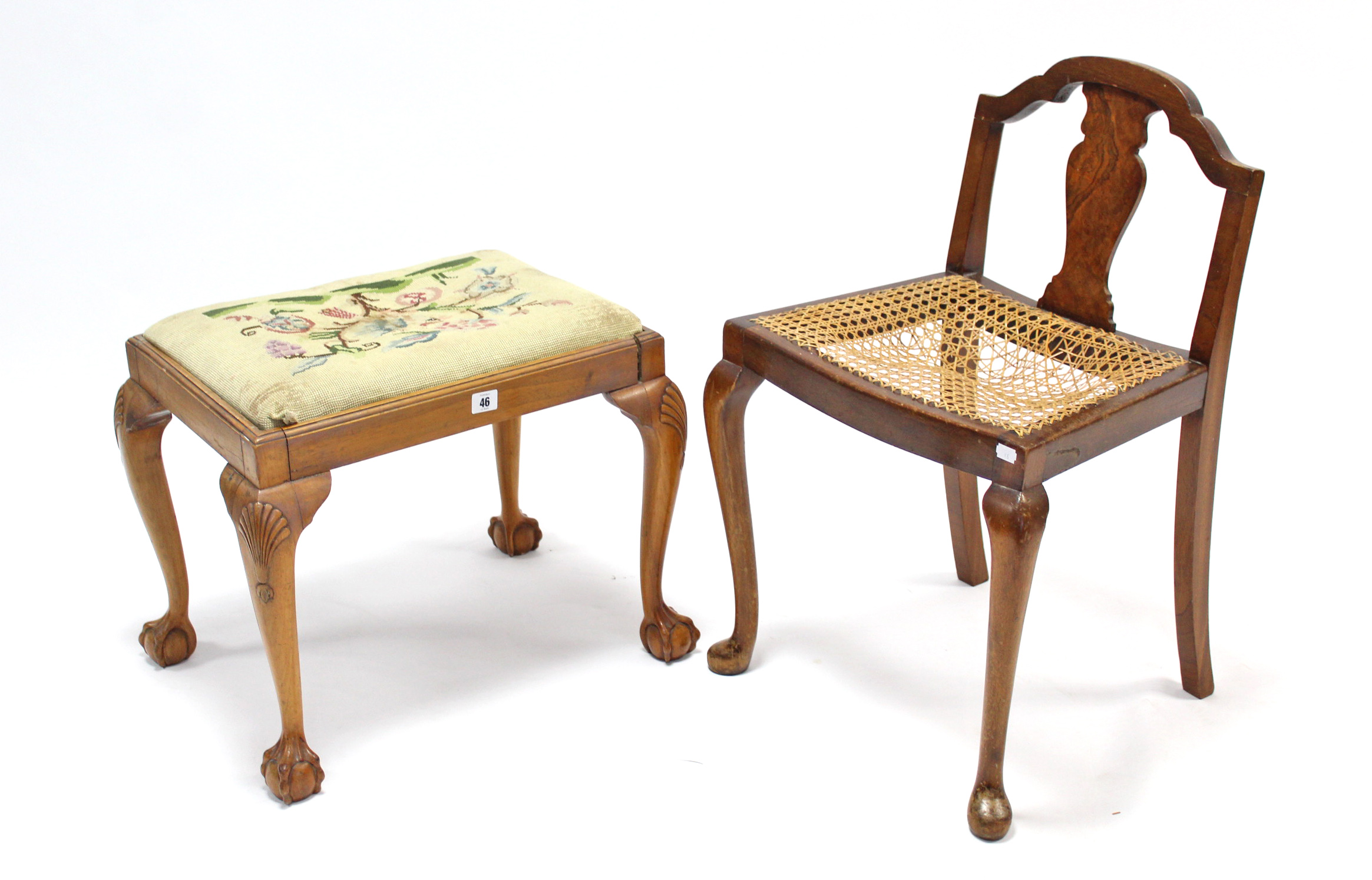 Lot 46 - A beech rectangular dressing table stool with padded seat, & on slender cabriole legs & claw-&-