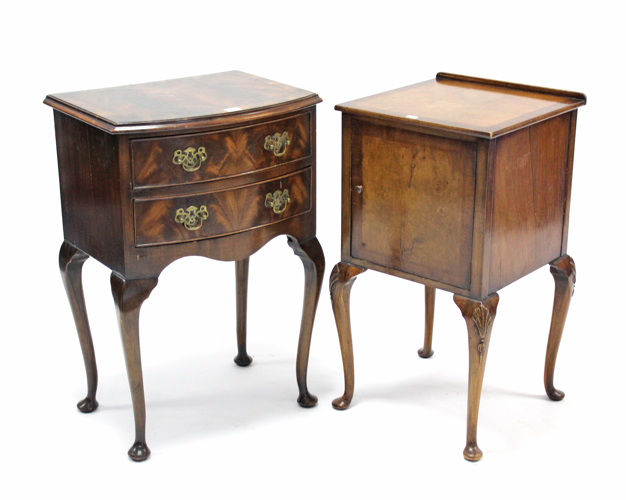 """Lot 44 - A mahogany bow-front two-drawer bedside chest on slender cabriole legs & pad feet, 19"""" wide; & a"""