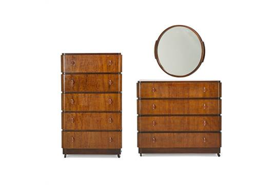 Valentine Seaver Co Mirror And Two Dressers Usa 1930s Walnut Matte Chromed Steel Acrylic M