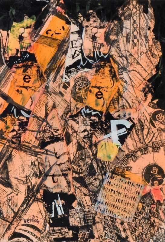 ANDRÉ VERLON(1917 ZÜRICH - 1993 WIEN)BABYLON, 1976Collage und Mischtechnik auf Zeichenkarton,32,6