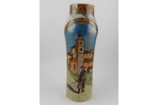 A Daniel Zuloaga Pottery Vase Spanish 1852 9121 Of Cylindrical