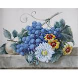 Octavia Gardyne (French 19th Century)Still life of grapes and flowers on a ledgeSigned and dated