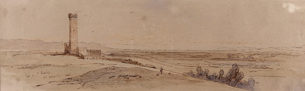 Lot 104 - Edward Lear (1812-1888)Tor Saint EusebioTitled and dated 13th February 1845Pen, ink and