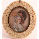 λ English School late 19th CenturyPortrait miniature of a lady in 18th Century dress, head and