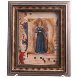 Italian School 14/15th CenturyHistoriated initial 'D' Depicting St. Catherine cut from an