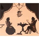 English School 20th CenturyInterior scenes with figures at a tableA pair, both reverse glass