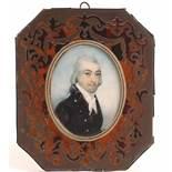 λ English School Early 19th CenturyPortrait miniature of a gentleman, head and shoulders, wearing