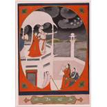 Pahari School early 19th CenturyRomantic couple on a balcony with musicians below, in a decorative