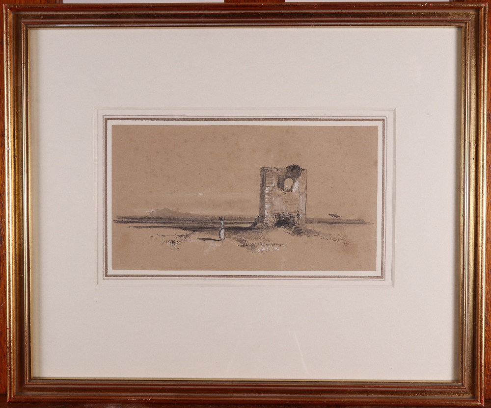 Edward Lear (1812-1888)Desert landscape with ruinSigned and dated 1846Pencil heightened with white - Image 2 of 3