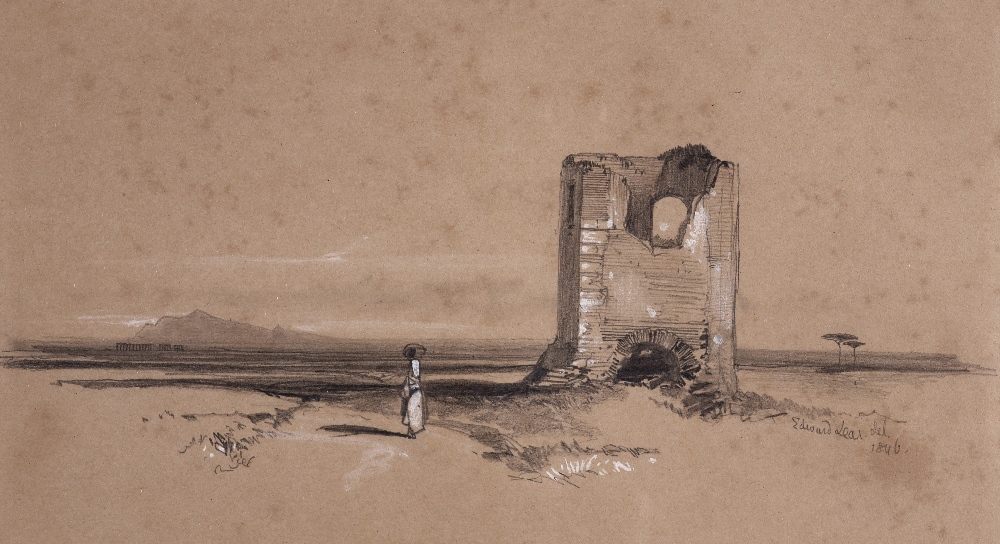 Edward Lear (1812-1888)Desert landscape with ruinSigned and dated 1846Pencil heightened with white