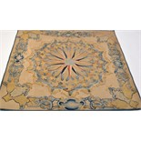 Lot 891 - An Aubusson type rug, with central rosette and leaf scrolls in blues and golds on fawn ground,