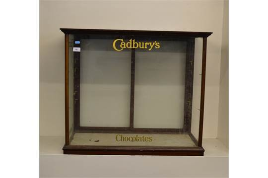 Cadburys Chocolate Mahogany Display Cabinet With Sliding Rear