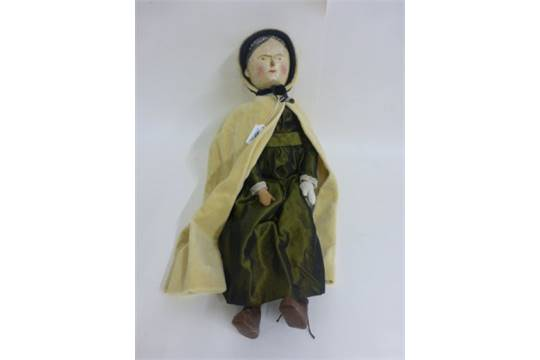 sc 1 st  The Saleroom & Vintage bisque headed Aunt Sally doll with wooden body and yellow cloak