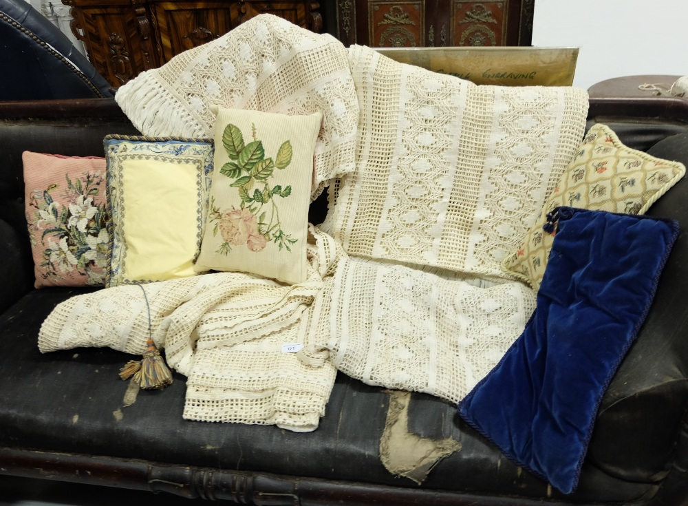 Lot 10 - 4 crochet style window panels & 5 loose cushions, various patterns
