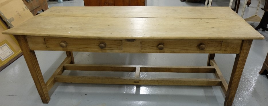 Lot 41 - Long Farmhouse Pine Refecry Table, with two apron drawers, on square legs with a dove-tailed